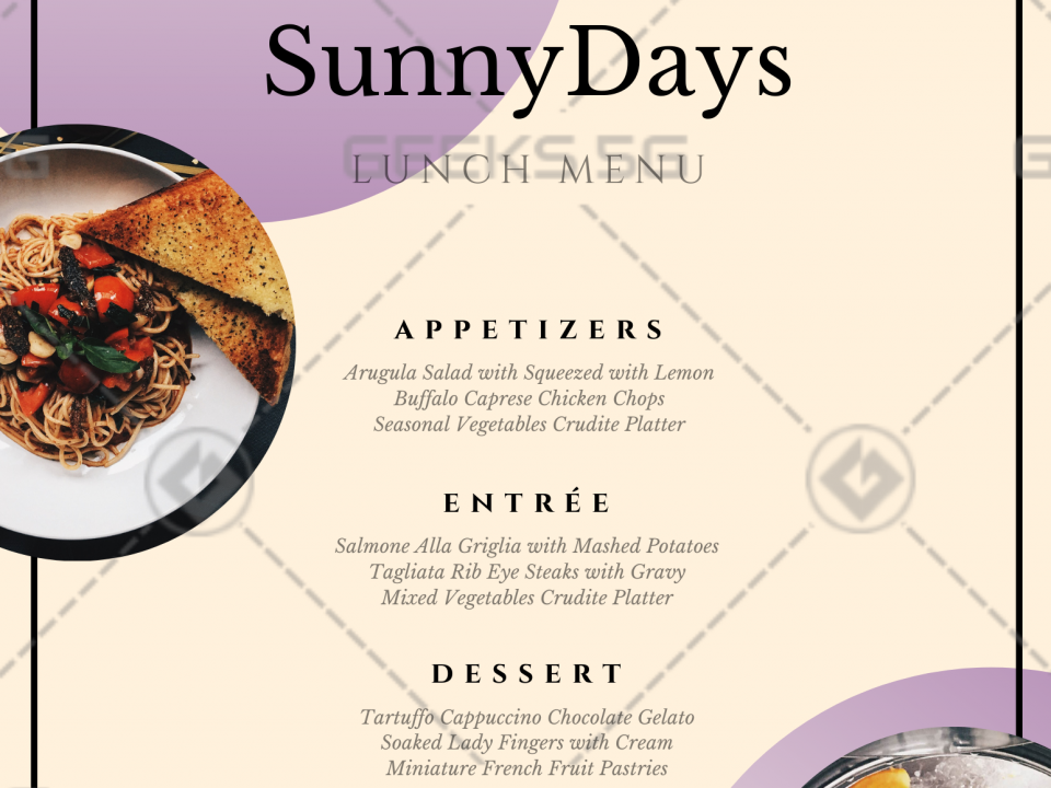 Sunny Days Website Menus